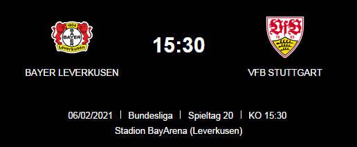 Wett Tipp Bayer Leverkusen Stuttgart 06 02 20