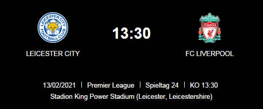Wett Tipp Leicester Liverpool 13 02 20