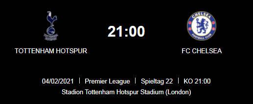 Wett Tipp Tottenham Chelsea 03 02 21