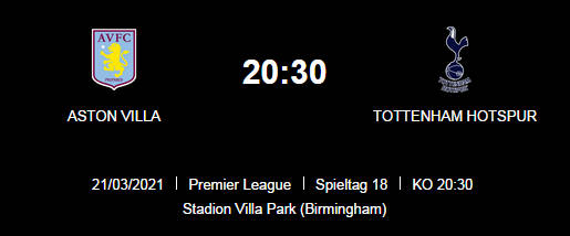 Wett Tipp Aston Villa Tottenham 21 03 21