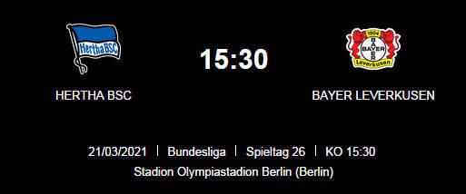 Wett Tipp Hertha BSC Bayer Leverkusen 21 03 21