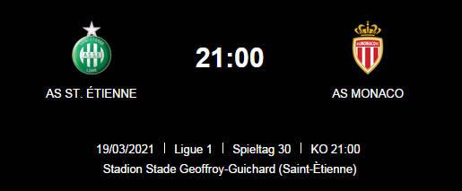 Wett Tipp St Etienne Monaco 19 03 21