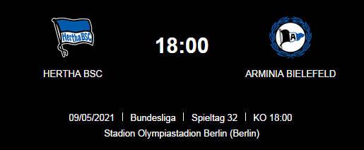 Wett Tipp Hertha BSC Arminia Bielefeld 09 05 21